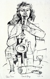 Artist: GRIEVE, Robert | Title: Clarinet player | Date: 1958 | Technique: lithograph, printed in blue-black from one stone