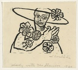 Artist: GROBLICKA, Lidia | Title: Lady with the flowers | Date: 1966 | Technique: linocut, printed in black ink, from one block