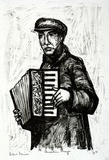 Artist: GRIEVE, Robert | Title: Accordion player | Date: 1955 | Technique: lithograph, printed in black ink, from one stone