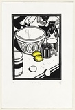 Artist: PARTRIDGE, Mike | Title: A batter thing | Date: 1992 | Technique: linocut, printed in black ink, from one block; hand-coloured