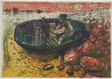 Artist: SEIDEL, Brian | Title: Fisherman | Date: 1961 | Technique: lithograph, printed in colour, from multiple stones [or plates] | Copyright: This work appears on screen courtesy of the artist and copyright holder
