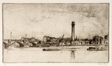 Artist: LONG, Sydney | Title: The old shot and powder works | Date: 1925 | Technique: line-etching, printed in black ink, from one copper plate | Copyright: Reproduced with the kind permission of the Ophthalmic Research Institute of Australia