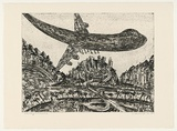 Artist: SENBERGS, Jan | Title: Landing at exotica (dark) | Date: 1992 | Technique: etching, printed in black ink, from one plate | Copyright: © Jan Senbergs
