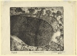 Artist: OLSEN, John | Title: Lake Hindmarsh | Date: 1968 | Technique: etching, aquatint and drypoint, printed in black ink, from one plate | Copyright: © John Olsen. Licensed by VISCOPY, Australia