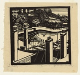 Artist: BLACKBURN, Vera | Title: The bay. | Date: 1936 | Technique: linocut, printed in black ink, from one block | Copyright: © Vera Blackburn