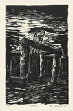 Artist: AMOR, Rick | Title: Ladder. | Date: 1992 | Technique: woodcut, printed in black ink, from one block