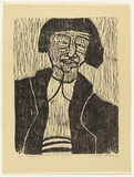 Artist: HANRAHAN, Barbara | Title: Girl in a cardigan | Date: 1962 | Technique: woodcut, printed in black ink, from one block