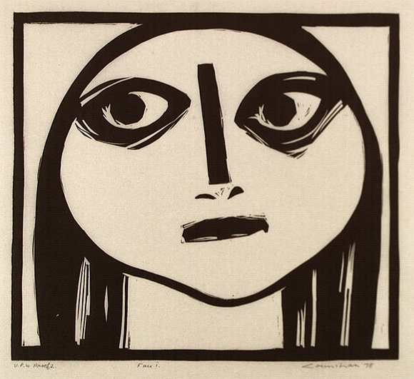 Artist: COUNIHAN, Noel | Title: Face I | Date: 1984 | Technique: linocut, printed in black ink, from one block