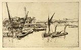 Artist: LONG, Sydney | Title: The river from Blackfriars Bridge | Date: 1925 | Technique: line-etching, drypoint printed in black ink from one copper plate | Copyright: Reproduced with the kind permission of the Ophthalmic Research Institute of Australia