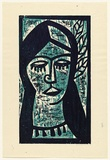 Artist: HANRAHAN, Barbara | Title: Girl with leaves in her hair | Date: 1960 | Technique: woodcut, printed in colour, from two blocks