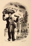 Artist: MISSINGHAM, Hal | Title: London characters, Muffin man. | Date: 1935 | Technique: lithograph, printed in black ink, from one stone [or plate]
