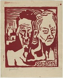 Artist: ROBERTS, Douglas | Title: (Faces of pain). | Date: c.1943 | Technique: linocut, printed in red ink, from one block