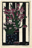 Artist: PRESTON, Margaret | Title: Native Fuchsia [sic] | Date: 1925 | Technique: woodcut, printed in black ink, from one block; hand-coloured | Copyright: © Margaret Preston. Licensed by VISCOPY, Australia