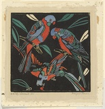 Artist: PRESTON, Margaret | Title: Lorikeets | Date: 1925 | Technique: woodcut, printed in black ink, from one block; hand-coloured | Copyright: © Margaret Preston. Licensed by VISCOPY, Australia