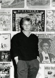 Title: Pam Debenham, poster-maker at the Tin Sheds | Date: c.1986