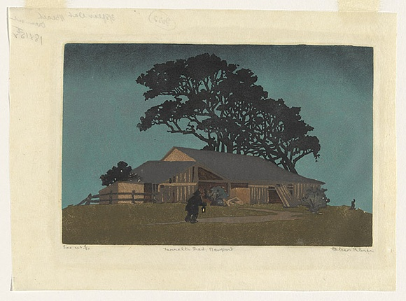 Artist: PALMER, Ethleen | Title: Farrell's shed, Newport | Date: 1935 | Technique: linocut, printed in colour, from multiple blocks
