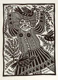 Artist: HANRAHAN, Barbara | Title: Girl with birds. | Date: 1989 | Technique: linocut, printed in black ink, from one block