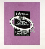 Artist: SMITH, Lisa | Title: Labor Women's Conference | Date: 1991 | Technique: screenprint, printed in black and pink ink, from two stencils