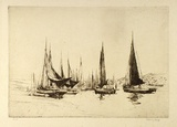 Artist: LONG, Sydney | Title: Fishing boats, Kings Lynn | Date: (1919) | Technique: etching | Copyright: Reproduced with the kind permission of the Ophthalmic Research Institute of Australia