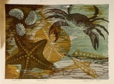 Artist: HIGGS, Florence | Title: Rock pool | Date: c.1956 | Technique: linocut, printed in colour, from four blocks