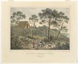 Artist: SAINSON, Louis de | Title: Habitation de pecheurs de phoques au Port Western. (House of the seal fishermen, Western Port) | Date: 1833 | Technique: lithograph, printed in black ink, from one stone; hand-coloured and with varnished highlights