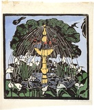 Artist: PRESTON, Margaret | Title: Bird fountain | Date: 1925 | Technique: woodcut, printed in black ink, from one block; hand-coloured | Copyright: © Margaret Preston. Licensed by VISCOPY, Australia