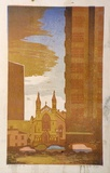 Artist: HIGGS, Florence | Title: City Church | Date: c.1955 | Technique: linocut, printed in colour, from five blocks