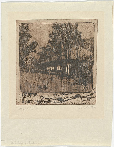 Artist: TRAILL, Jessie | Title: Possum time: Harfra at night. | Date: 1921 | Technique: softground-etching with foul-biting, printed in brown ink with plate-tone and wiped highlights, from one plate