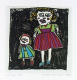 Artist: HANRAHAN, Barbara | Title: Little girls | Date: 1988 | Technique: etching, printed in black ink with plate-tone, from one plate, hand-coloured