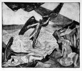 Artist: CILENTO, Margaret | Title: Fall of Icarus. | Date: 1947 | Technique: etching and aquatint, printed in black ink, from one plate