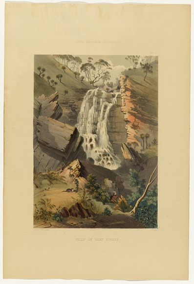 Artist: ANGAS, George French | Title: Falls of Glen Stuart. | Date: 1846-47 | Technique: lithograph, printed in colour, from multiple stones; varnish highlights by brush