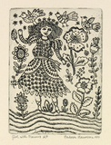 Artist: HANRAHAN, Barbara | Title: Girl with flowers | Date: 1991 | Technique: etching, printed in black ink with plate-tone, from one plate