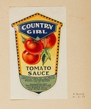 Artist: BURDETT, Frank | Title: Label: Country Girl, tomato sauce. | Date: 1927 | Technique: lithograph, printed in colour, from multiple stones [or plates]