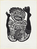 Artist: HANRAHAN, Barbara | Title: Birth | Date: 1986 | Technique: linocut, printed in black ink, from one block