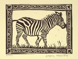 Artist: ALEXANDER, Gregory | Title: Zebra | Date: 1995, September | Technique: linocut, printed in black ink, from one block