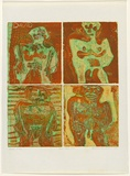 Artist: HANRAHAN, Barbara | Title: Four little men | Date: 1964 | Technique: etching, printed in colour, from four copper plates