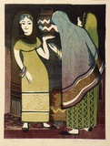 Artist: HIGGS, Florence | Title: Gossip | Date: (1954) | Technique: linocut, printed in colour, from four blocks