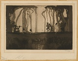 Artist: LONG, Sydney | Title: Pan | Date: 1919 | Technique: line-etching and aquatint, printed in sepia ink, from one copper plate | Copyright: Reproduced with the kind permission of the Ophthalmic Research Institute of Australia