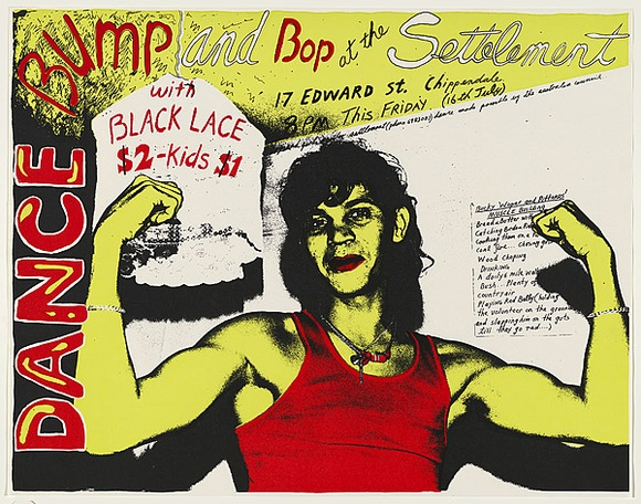 Artist: WORSTEAD, Paul | Title: Bump and Bop at the Settlement - (wopper's no.1) - Black lace. | Date: 1976 | Technique: screenprint, printed in colour, from three stencils | Copyright: This work appears on screen courtesy of the artist