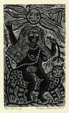 Artist: HANRAHAN, Barbara | Title: Cat lady | Date: 1977 | Technique: wood-engraving, printed in black ink, from one block