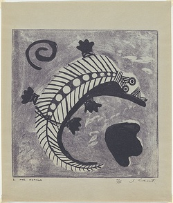 Artist: CANT, James | Title: The reptile. | Date: 1948 | Technique: cliche-verre, printed in blue pigment, from one paper plate