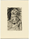 Artist: HANRAHAN, Barbara | Title: Dreaming woman | Date: c.1960 | Technique: drypoint, printed in black ink, from one plate