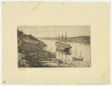 Artist: MORGAN, Squire | Title: H.M.A.S. Tingira at Berry's Bay. | Date: c.1930 | Technique: etching, printed in black ink, from one plate