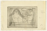 Artist: HANRAHAN, Barbara | Title: At the window | Date: 1960 | Technique: etching, printed in black ink, from one plate