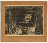Artist: URE SMITH, Sydney | Title: The blacksmith's shop, Ambleside | Date: 1925 | Technique: etching, printed in black ink with plate-tone, from one  plate