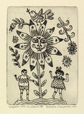 Artist: HANRAHAN, Barbara | Title: Children with sunflower | Date: 1991 | Technique: etching, printed in black ink with plate-tone, from one plate