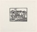 Artist: GROBLICKA, Lidia | Title: Naive village | Date: 1961 | Technique: woodcut, printed in black ink, from one block