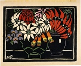 Artist: PRESTON, Margaret | Title: Sturt's desert pea | Date: 1925 | Technique: woodcut, printed in black ink, from one block; hand-coloured | Copyright: © Margaret Preston. Licensed by VISCOPY, Australia