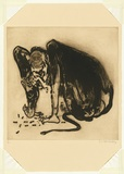 Artist: WHITELEY, Brett | Title: Baboon II | Date: 1977 | Technique: sugarlift aquatint and drypoint, printed in black ink, from two plates | Copyright: This work appears on the screen courtesy of the estate of Brett Whiteley