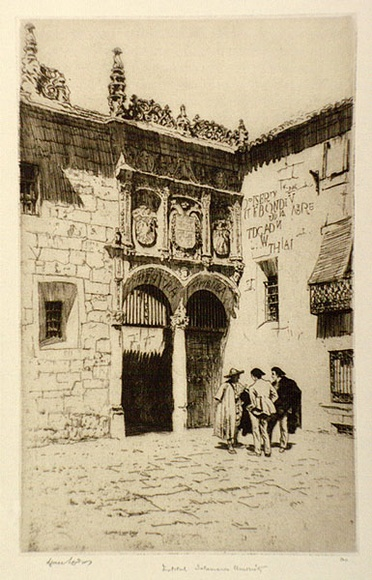 Artist: LINDSAY, Lionel | Title: Facade of the Institute, Salamanca University | Date: 1934 | Technique: etching, printed in black ink  with plate-tone, from one plate | Copyright: Courtesy of the National Library of Australia